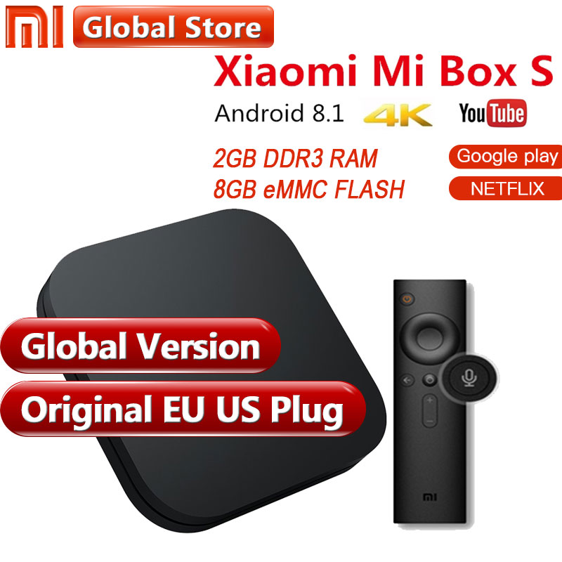 Оригинальный Глобальный Версия Xiaomi Mi Box s 3 s 2 ГБ 8 ГБ Android 6,0 8,1 Smart 4 К к Ultra HD Wi Fi Google Cast Netflix IP ТВ Декодер каналов кабельного телевидения