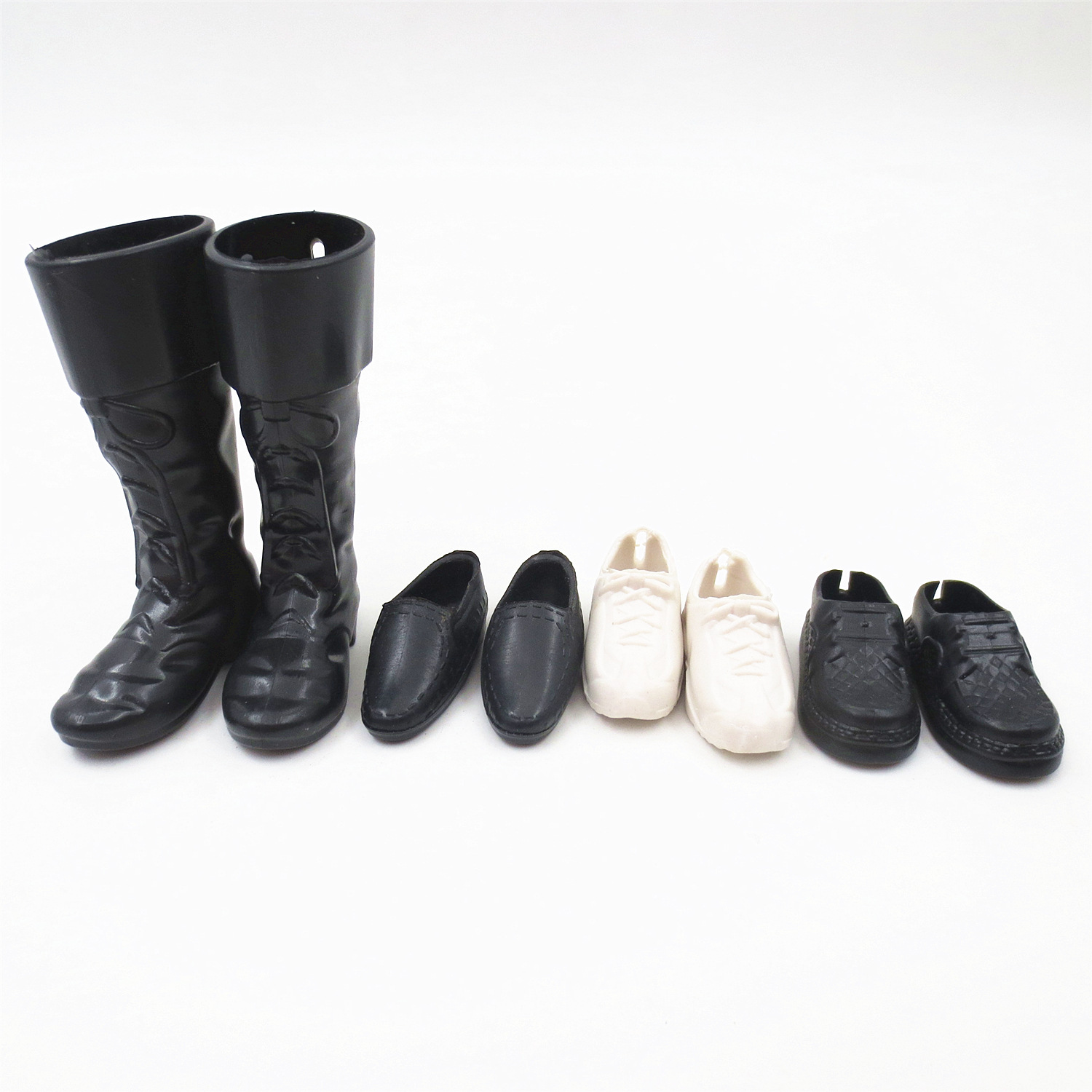 4 Pairs Boys High Boots Dress Up For Boyfriend Male Doll 30cm Doll Accessories Mini Shoes For Prince Men Doll