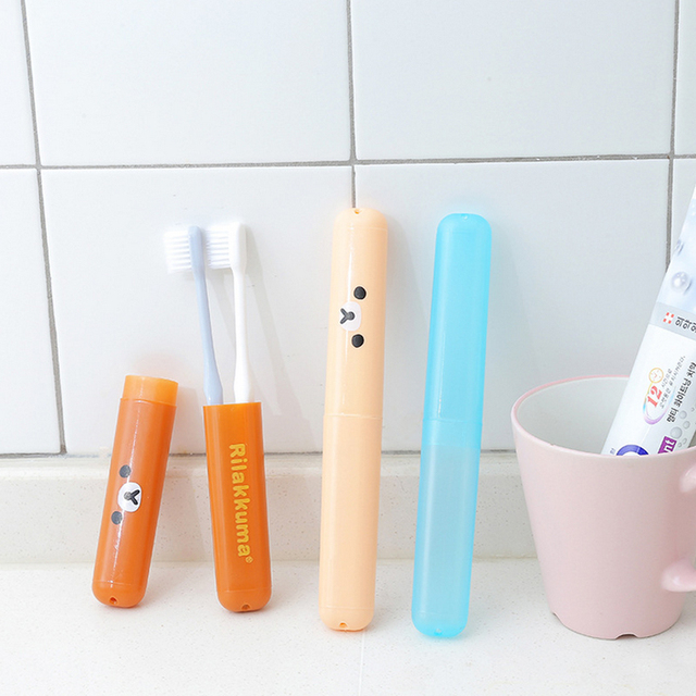 1pc Cute bear color toothbrush box cartoon portable antibacterial  travel toothbrush holder multi function box Bathroom Products
