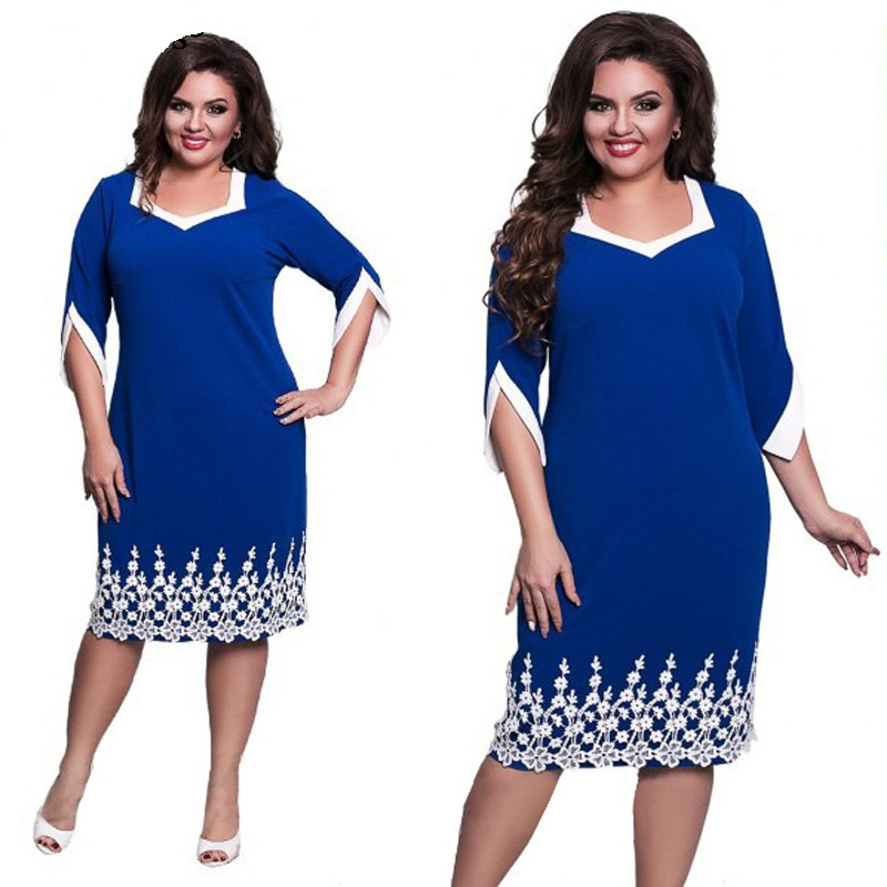 2017 Women Casual Loose Dress Lace Patchwork Big Sizes Fashion Office Work Dresses Solid Blue Red Clothes Plus Size Vestidos 6XL