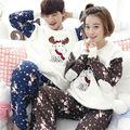 Новый зимний длинный рукав Любителей пижамы мужчин и женщин пижамы Теплый фланели Мультфильм Досуг Главная одежда свободные пара пижамы установить