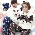 Novo inverno de manga comprida Amantes pijamas homens & mulheres pijamas de flanela Quente Dos Desenhos Animados Lazer Início roupas soltas casal pijama definido