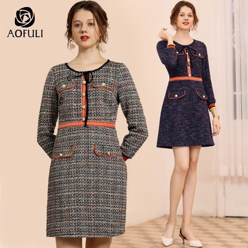 AOFULI British style knitted dress women plus size knit woolen winter  dresses long sleeve knee length dress L- 3XL 4XL 5XL A3755 9eaba8d2f