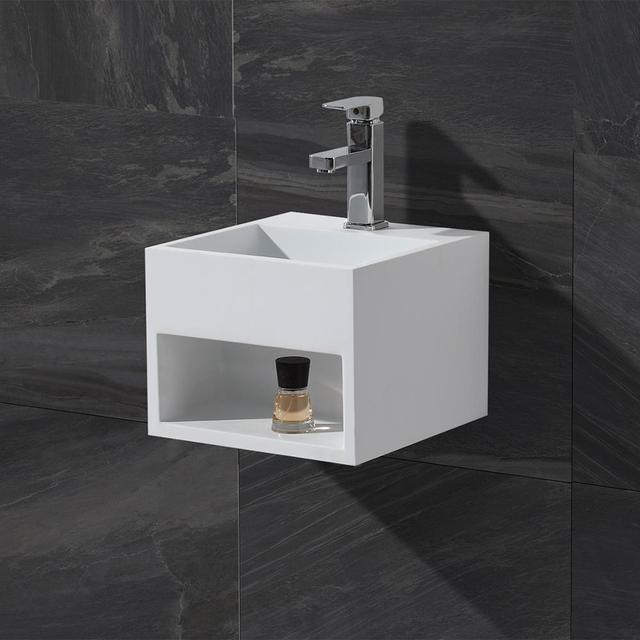 KKR solid surface matt white square wall hung wash basin bathroom sink  KKR-1360