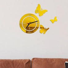 New 3D Wall Clock Stickers DIY Acrylic Round Butterfly Wall Clock Mirror Home Wall Clock Decoration Modern Design Home Decor