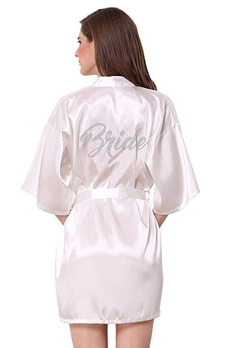 RB89 Rhinestone Letter Bride Robes Bridesmaids And Maid Of Honor Robes Sleepwear Nightwear Wedding Bathrobe Night Dress Gow