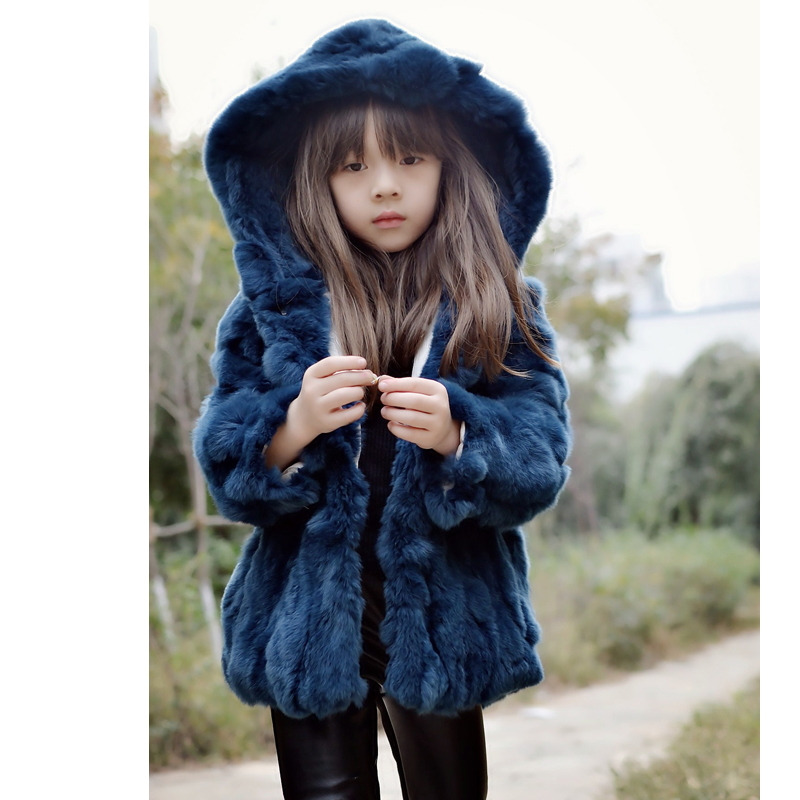 5ed022f8d1f5a Girl Hooded Parka Continental Kids Really Rabbit Fur coat autumn and winter  fashion Children s clothing Family fitted thick