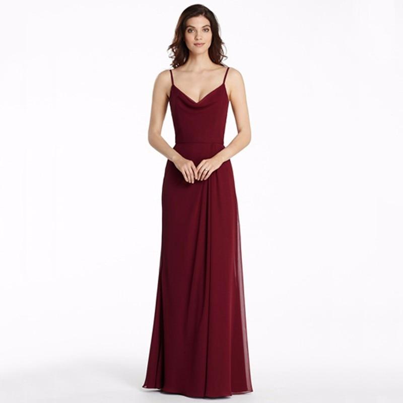 Dark Red Chiffon Long   Bridesmaid     Dresses   2016 Vestido Madrinha Cheap Spaghetti Backless Party Wedding Formal   Dress   Floor Length
