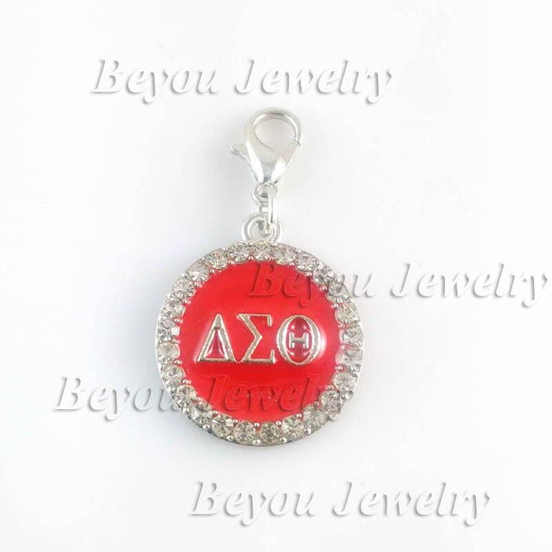 Delta Sigma Theta Earrings: GREEK Delta Sigma Theta Sorority Red Round Dangle Charm-in