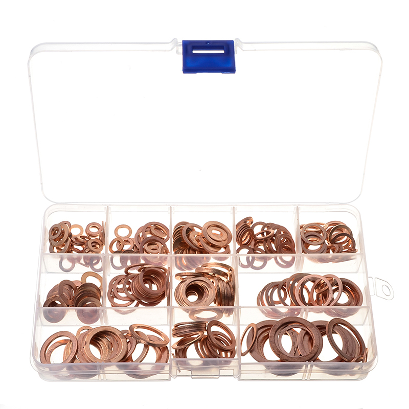 280PCS Sealing Solid Copper Gasket Set Plain Washers Assortment Kit with Box for Screws Bolts Fasteners Auto Vehicle Accessories