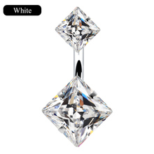 SHUANGR Fashion Crystal Geometric Belly Button Rings For Women Blue White Black Color Umbilical Nails Navel Piercing Jewelry