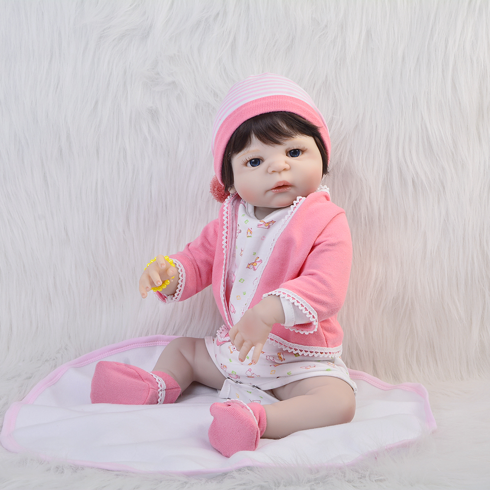 23 inch Full Silicone Vinyl Newborn Baby Doll Lifelike 57cm Reborn Babies Dolls Fashion Princess Toy For Girls Birthday Gift fashion babies newborn 23 realistic dolls full silicone vinyl lifelike dolls reborn baby toy for girl playmate birthday gifts