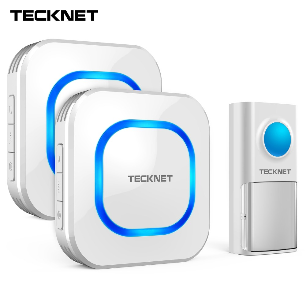 TeckNet Wireless Doorbell Twin Waterproof Wall Plug-in Cordless Home Door Chime Bell 150m Range 58 Chimes 4-Level Volume UK Plug wireless cordless digital doorbell remote door bell chime waterproof eu us uk au plug 110 220v