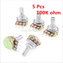 цена на B100K 100K OHM 5% 2W Single Turn Linear Type B Rotary Potentiometer Potenciometro Knurled Shaft Discount x 5 Pcs / Lots