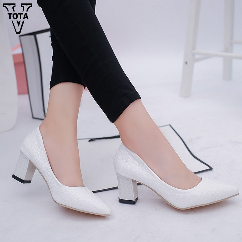VTOTA High Heels Square Heel Shoes Woman Pointed Toe Spring Autumn Women's Pumps Sexy Platform Shoes Office Lady Shoes HPL10 asumer beige pink fashion spring autumn shoes woman square toe casual single shoes square heel women high heels shoes