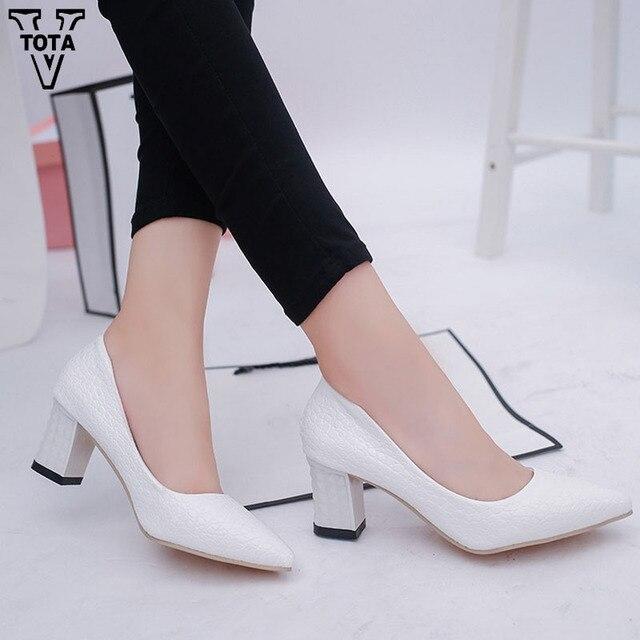 VTOTA tacones altos Tacón cuadrado zapatos mujer punta dedo del pie  primavera otoño mujeres bombas plataforma 8474371e25c5