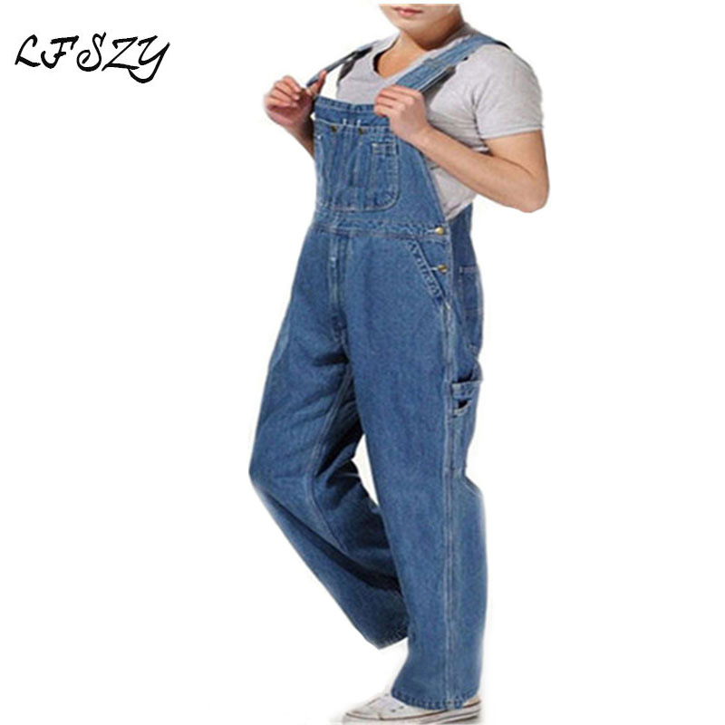 Hot 2019 Men's Plus Size 26-40 42 44 46 Overalls Large Size Huge Denim Bib Pants Fashion Pocket Jumpsuits Free Shipping Brand