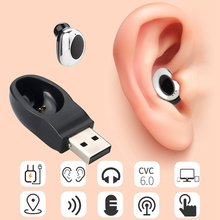 Wireless Bluetooth 4.1 Hidden Mini Earphone in ear earpiece Magnet USB Charger Headphone Handsfree with Mic for smartphone(China)