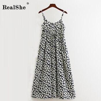 71a3530bf70b089 RealShe женское вечернее платье длинное летнее платье Бохо без рукавов с  цветочным принтом пляжное платье туника Макси платье Сарафан Vestidos De .