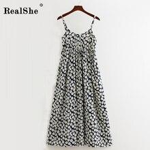 RealShe Women Party Dress Long Summer Boho Sleeveless Floral Print Beach Tunic Maxi Sundress Vestidos De Festa