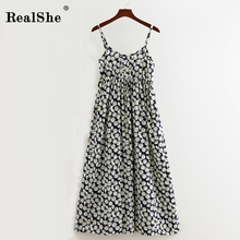 RealShe Women Party Dress Long Summer Boho Dress Sleeveless Floral Print Beach Dress Tunic Maxi Dress Sundress Vestidos De Festa