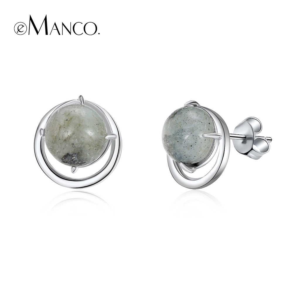 E-Manco 925 เงินสเตอร์ลิงสีเขียว Bean ต่างหูหินธรรมชาติขายส่งรอบสตั๊ดต่างหูของขวัญใหม่มาถึง