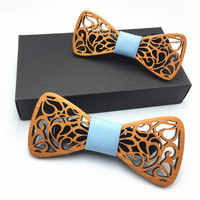 Father and son set wood bow tie set men's wooden High Quality Fashion Good Wood Bow Tie For Men Classic Hollow