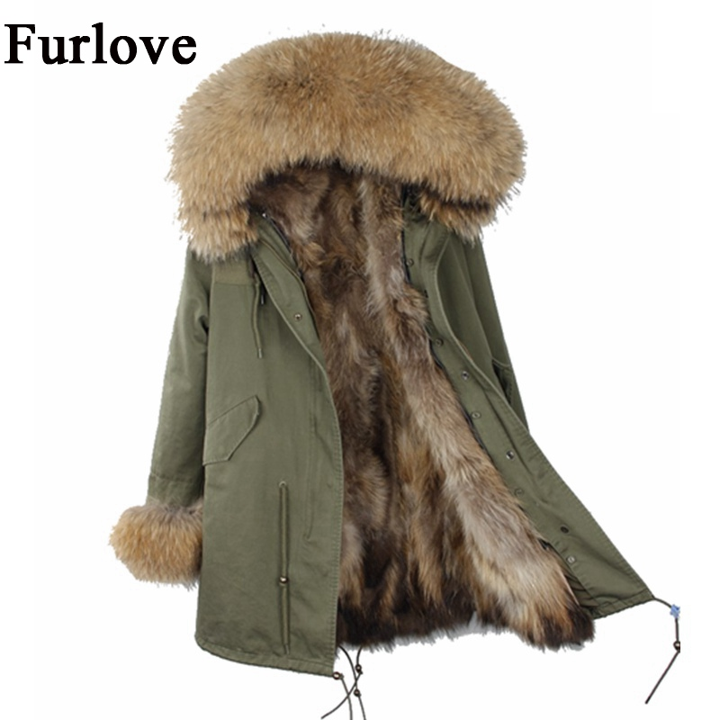 Womens Winter Jacket Women Coat Jackets Real Raccoon Fur Collar And Lining Parkas Casual Warm Thick Army Green Black Long Parka 2017 winter new clothes to overcome the coat of women in the long reed rabbit hair fur fur coat fox raccoon fur collar
