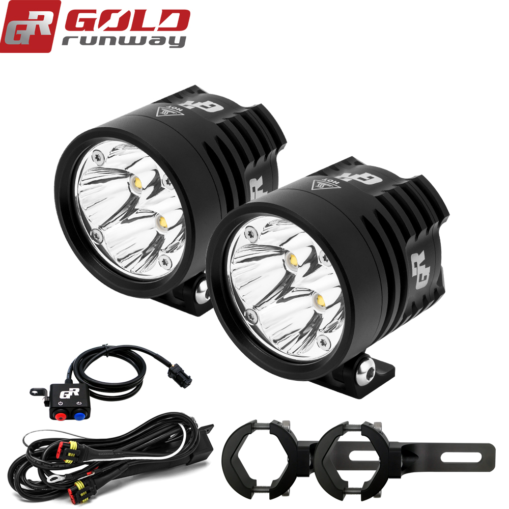 2PCS GOLDRUNWAY GR EXP4 3000lm Headlight Driving Fog Spotlight with wiring harness switch Clamp