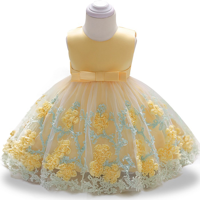 цены Summer Baby Girl Baby Infant Flower Princess Dress Baby Girl Lace Wedding Dress Tutu Kids Party Dresses for 1 Year Birthday