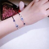 Genuine 925 Sterling Silver Blue evil eye bracelet for women fashion Clear Cubic Zircon Crystal luxury cuff Bracelet Jewelry