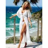 Self Duna 2017 Summer Women White Lace Long Dress V Neck Black Shift Loose Split Sexy Female Chiffon Maxi Beach Dress