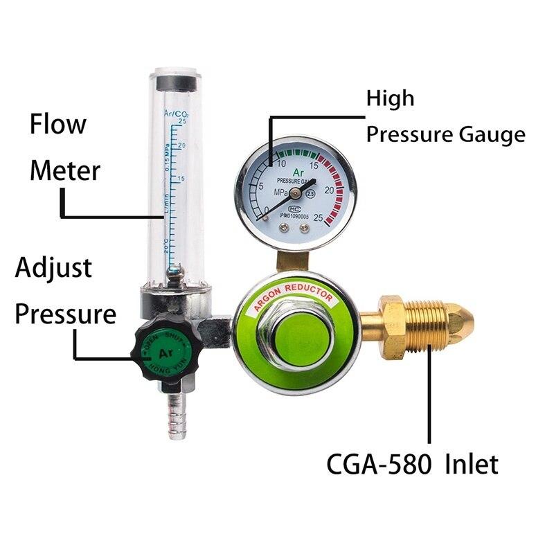 Argon CO2 Mig Tig Durchflussmesser Regler Schweißen Manometer Gas Schweißer