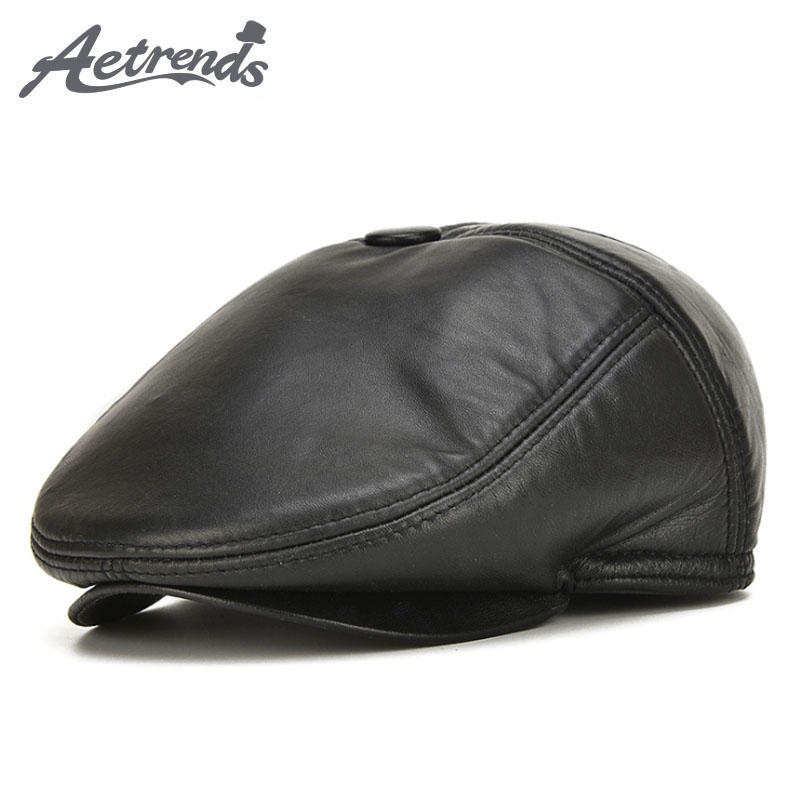 [AETRENDS] 2017 New Fashion 100% Genuine Leather Newsboy Caps