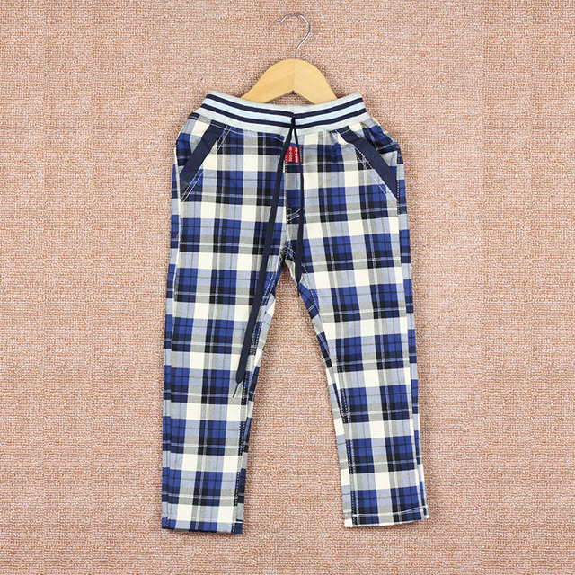 retail -SPRING   PLAID POCKET CAUSEL PANTS TROUSERS FOR AGE 2-7 CHILD BOY