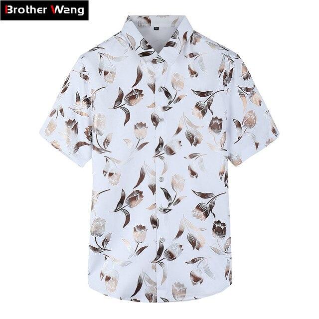 9c9d7ff384 2018 Flor do Verão dos homens Novos Camisa Moda Casual Camisa Havaiana  Camisa Masculino Magro Floral