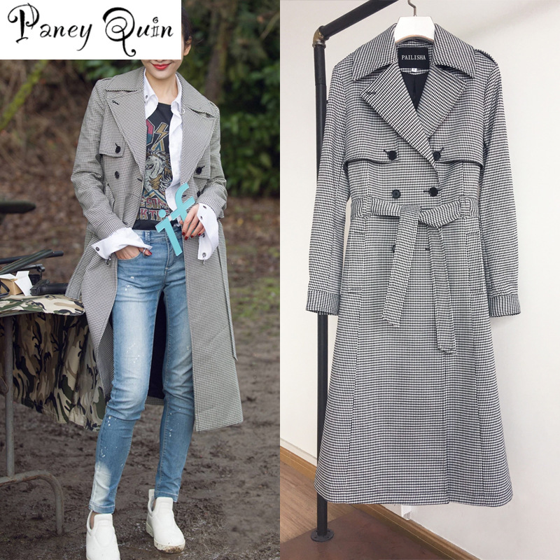 women Windbreaker trench female autumn winter Double Breasted Trench Business Outerwear white trench coat long coat women