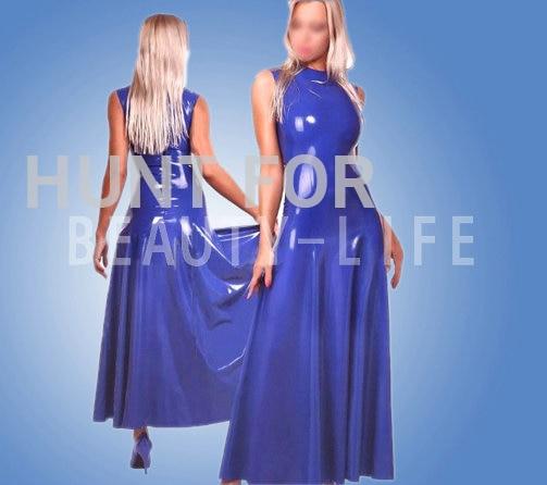 Nice latex rubber dress Long dress sleeveless sexy fetish lover Plug larger hemline