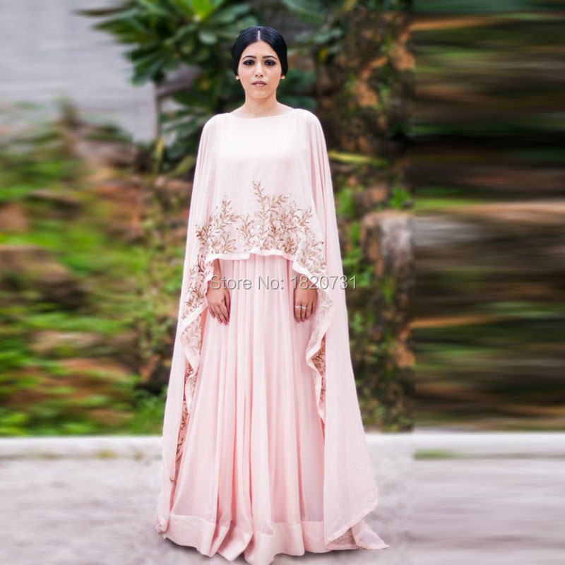 eb64ebf243 Chic Chiffon Long Prom Gowns With Cloak Dubai Arabic Formal Party Dress  Appliques Indian Pink Prom Dresses India Clothing Women