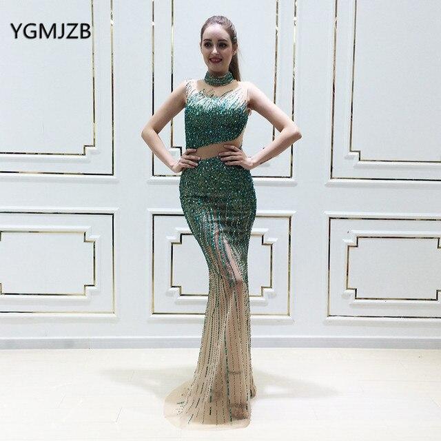 17f4979920d Luxe vert longue Robe De soirée sirène 2018 paillettes cristal perlé Sexy  femmes Robe De soirée