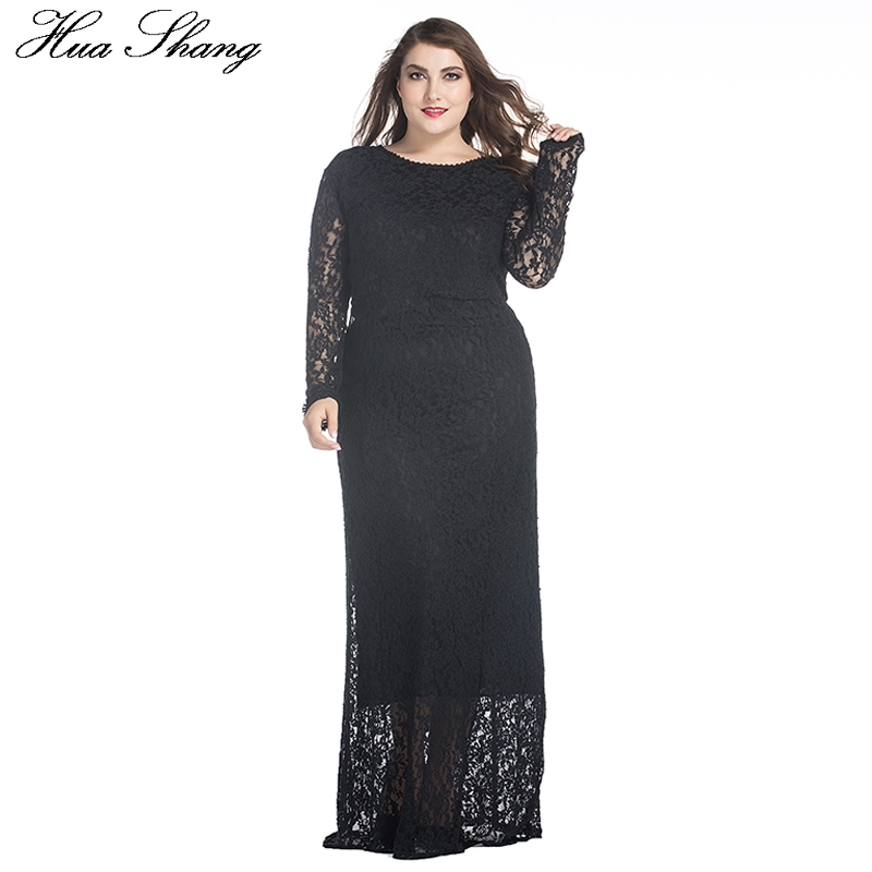 Spring Autumn Lace Dress Women Long Sleeve Lace Hollow Out Floor Length Party Dress High Waist