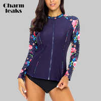 Charmleaks Frauen Lange Sleeve Zipper Rashguard Hemd Badeanzug Blumen Druck Bademode Surfen Top Rash Guard UPF50 + Sonnenschutz
