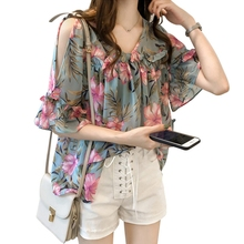 Women Sexy Cold Shoulder Shirts Summer Casual Chiffon Blouse Butterfly Sleeve Floral Printed Tops Laides Elegant camisas mujer недорого