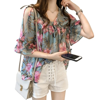 Women Sexy Cold Shoulder Shirts Summer Casual Chiffon Blouse Butterfly Sleeve Floral Printed Tops Laides Elegant camisas mujer lace panel flowy cold shoulder blouse