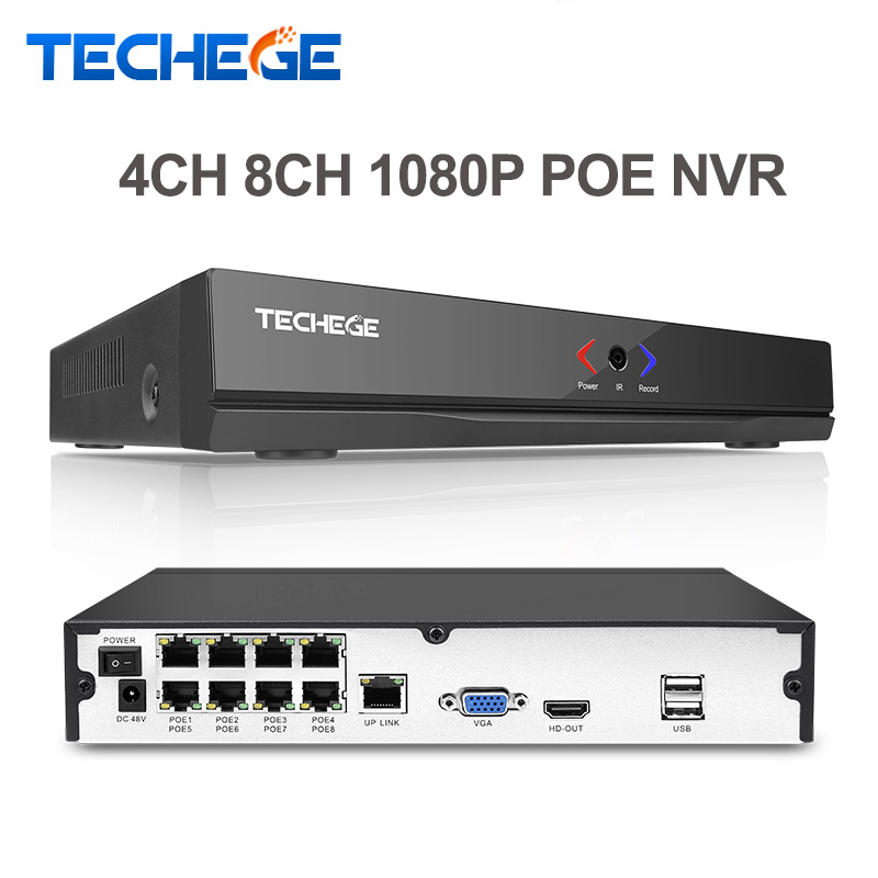 Techege 4CH 8CH Full HD Onvif 1080P 48V Real PoE NVR All-in-one Network Video Recorder for PoE IP Cameras P2P XMeye CCTV System