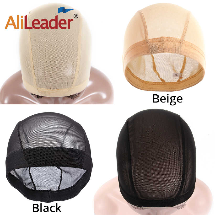 AliLeader 1 pc большой/маленький бежевый блондин телесного цвета парик Кепки Mesh Черный невидимые сети Материал ткачество Кепки для парика решений растягивающаяся, для парика Кепки s
