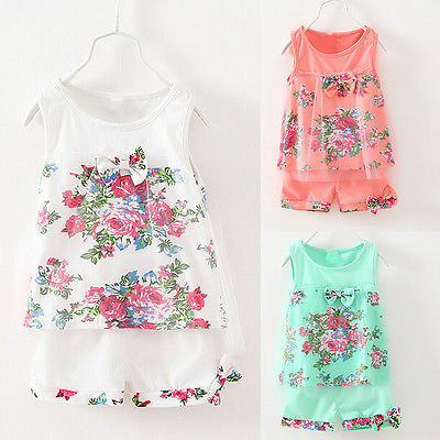 Baby Kids Girls Flower Summer Vest Tops T-shirt+Shorts 2pcs Outfits Set Clothes Green Pink White Lace Bowknot Children Clothing baby kids baseball season clothes baby girls love baseball clothing girls summer boutique baseball outfits with accessories