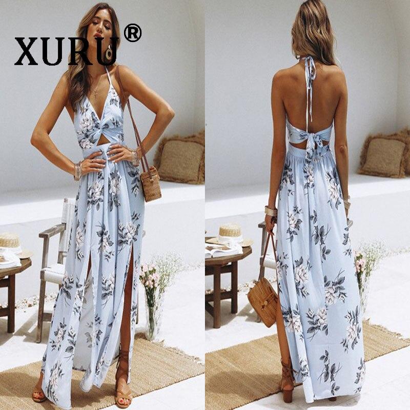 XURU Summer Women's Halter V-neck Chiffon Print Dress Sexy Split Fork Beach Maxi Dress