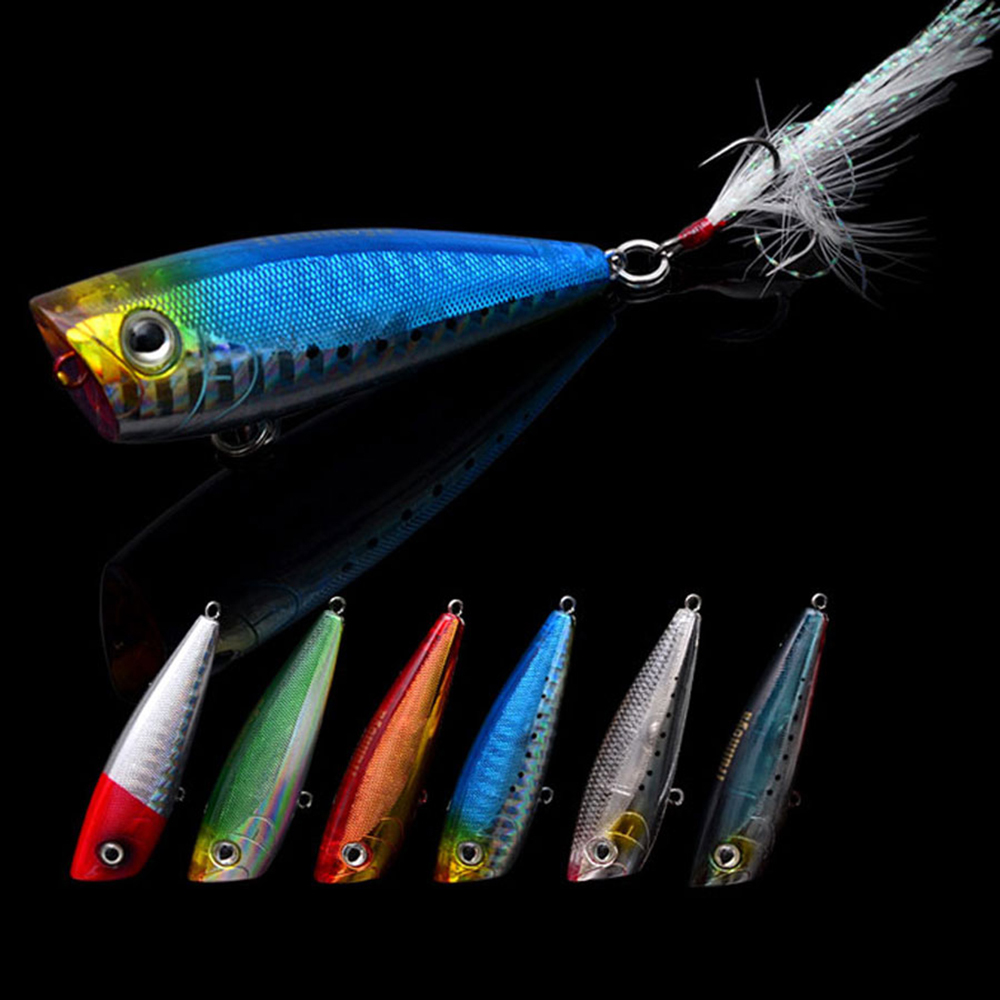 Trulinoya 60mm 7g 6pcs popper fishing lures hard bait for Saltwater fishing lures
