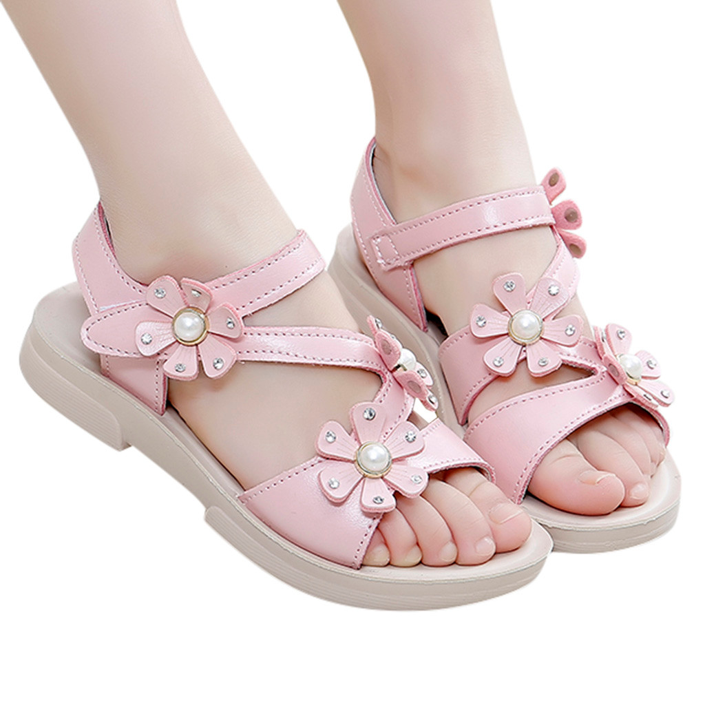 Toddler Infant Kids Baby Girl Flower Beach Soft Single Shoes Sandals Sole 12M-7T
